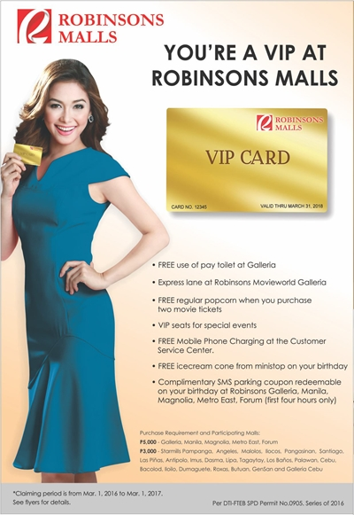 Robinsons Malls VIP Card Perks and Privileges